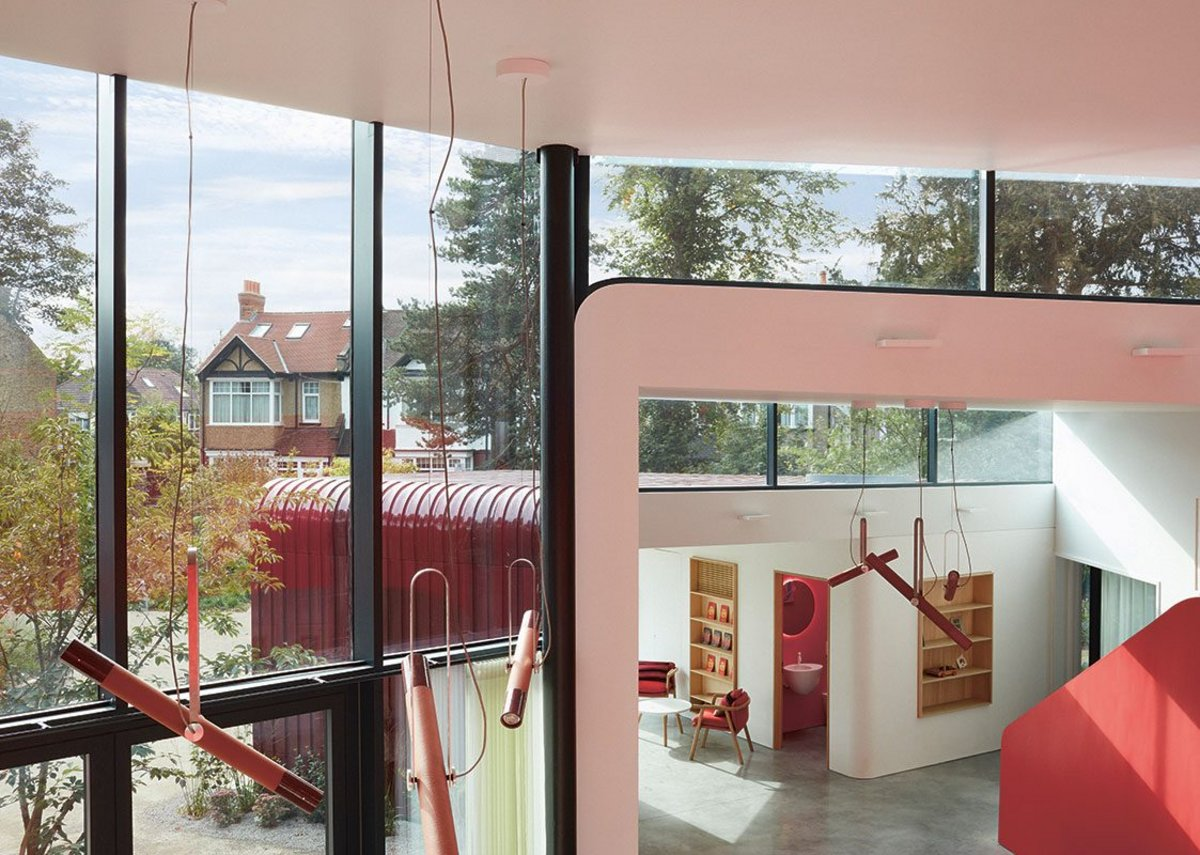Glazing not only floods the space with south light but is used in an architectonic way to delineate the four volumes.
