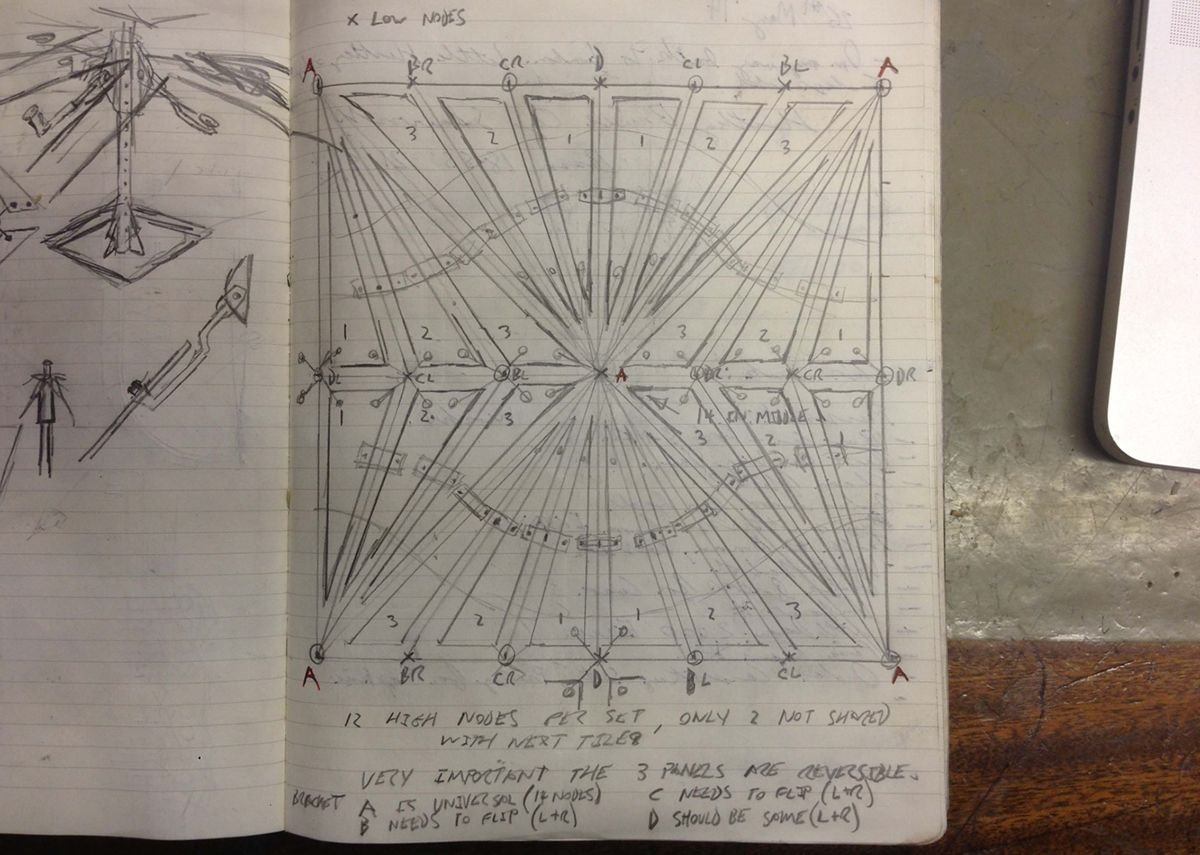 Conrad Shawcross, sketch of sub-panels for The Optic Cloak, June 2014.