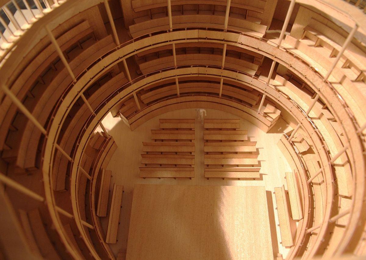 Inside the model the balcony arrangement can be seen.
