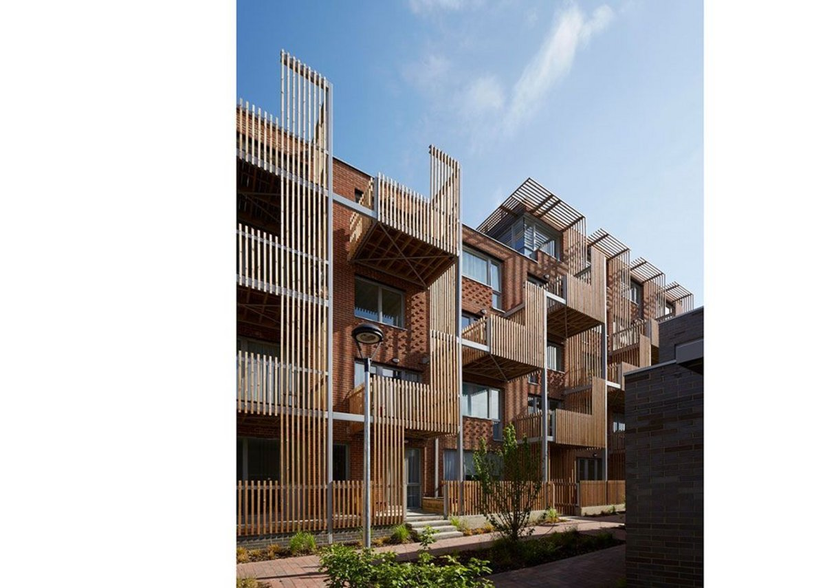 View of shared spaces at Underwood Road residential project in East London, for the Peabody Trust, 2015. Architects: Brady Mallalieu Architects.