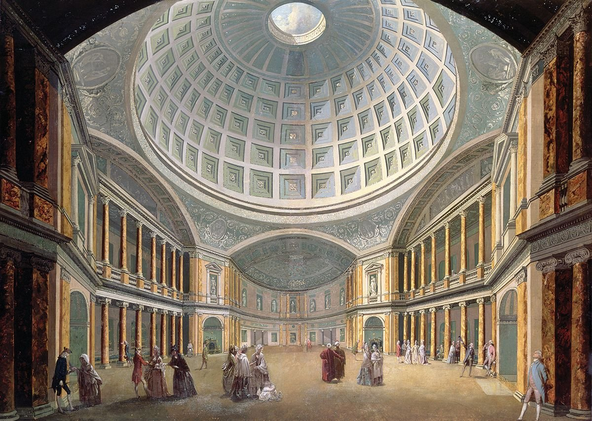 James Wyatt's 1772 Pantheon on London's Oxford Street. An enormous dome for strolling in. He was in his 20s at the time.