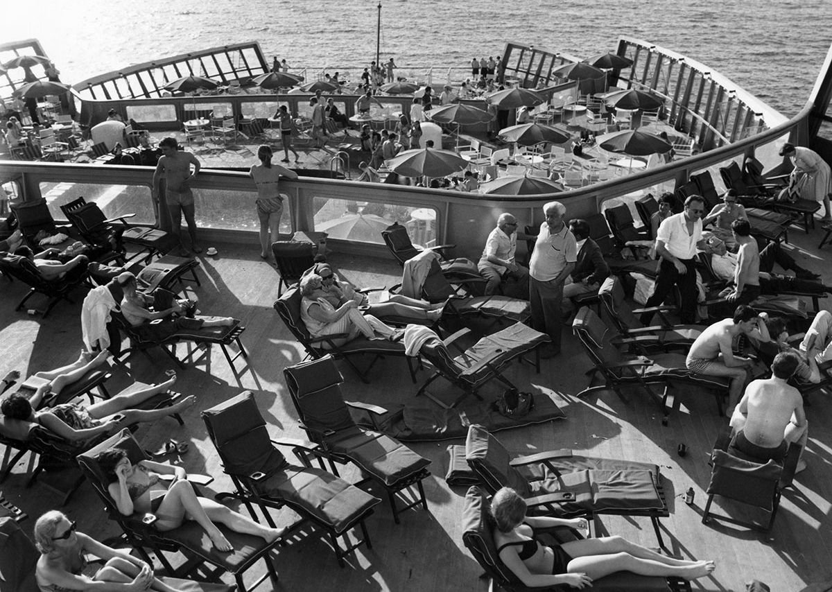 Relaxing on deck, from the exhibition QE2 50 Years Later at the Glasgow School of Art.