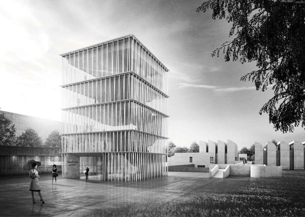 Volker Staab's competition winning design for a new building at the Bauhaus-Archiv in Berlin.
