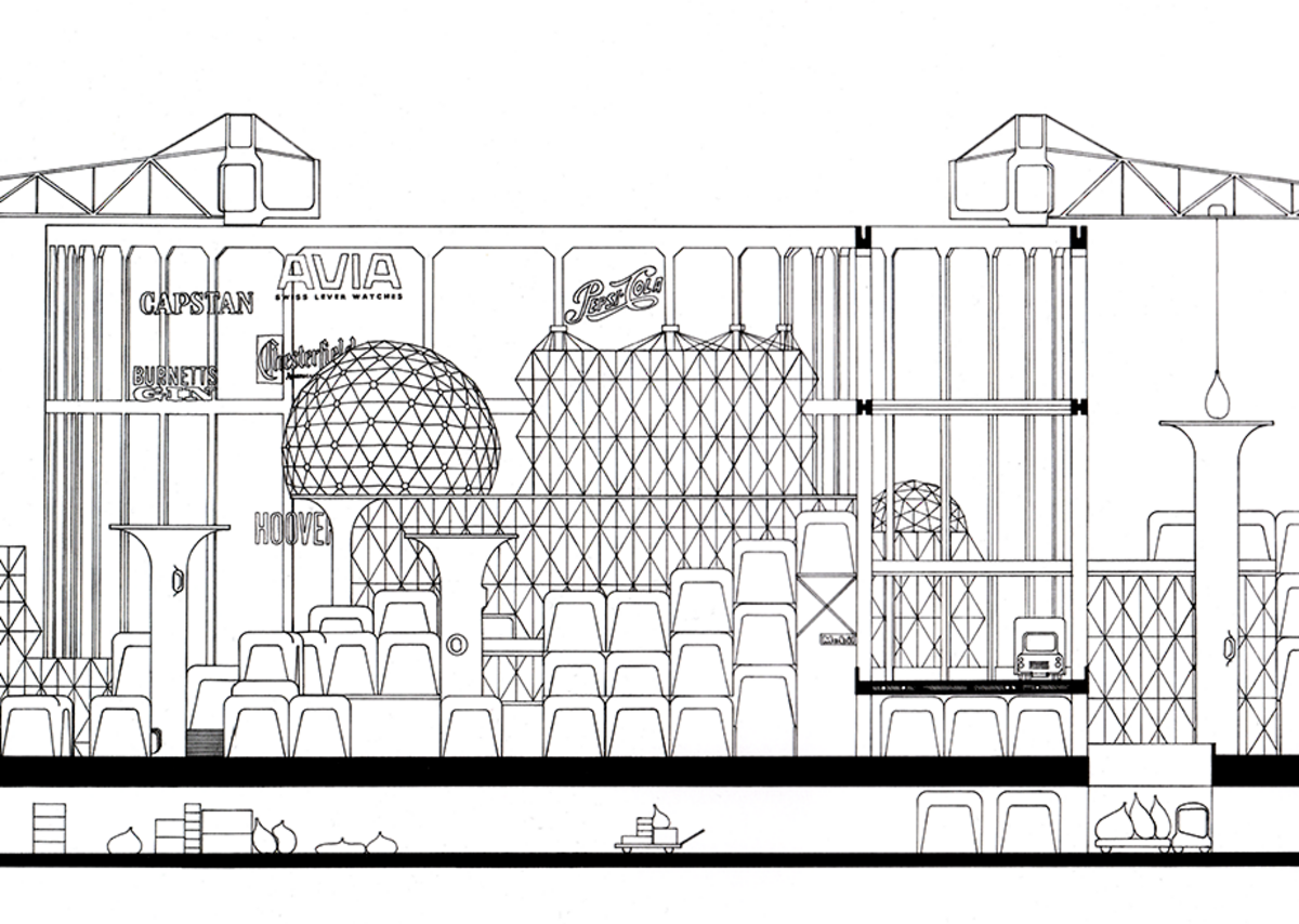 Commended: Harry Tindale used Archigram's drawing of the Nottingham Shopping Viaduct to consider the city today.