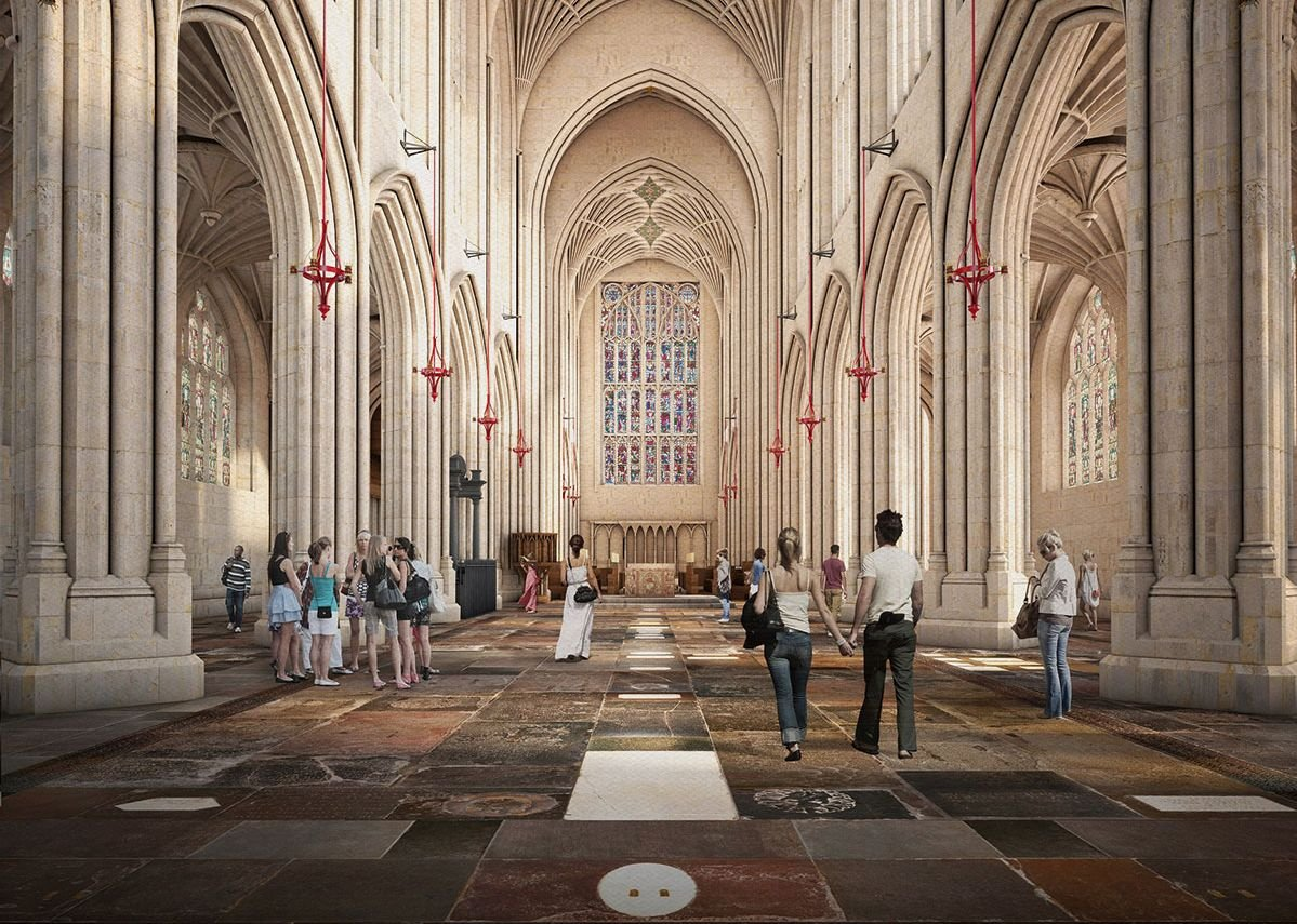 Visualisation of abbey without pews by Feilden Clegg Bradley studios