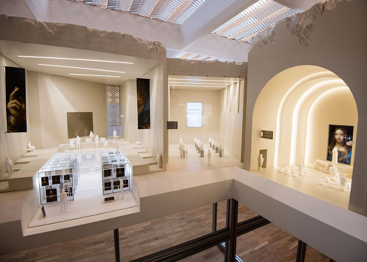 The Salvator Mundi Experience by Simon Fujiwara and David Kohn Architects presents a miniature museum for the Leonardo da Vinci painting housed in a building of sampled architecture. From the exhibition Is This Tomorrow? at the Whitechapel Gallery. Courtesy the Whitechapel Gallery