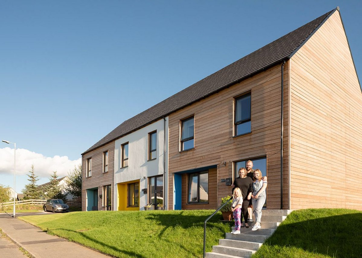 Residents at Closeburn, a development of three community owned houses for affordable rent for Nith Valley Leaf Trust. The Passivhoos houses were designed by John Gilbert Architects and built by Stewart & Shields.