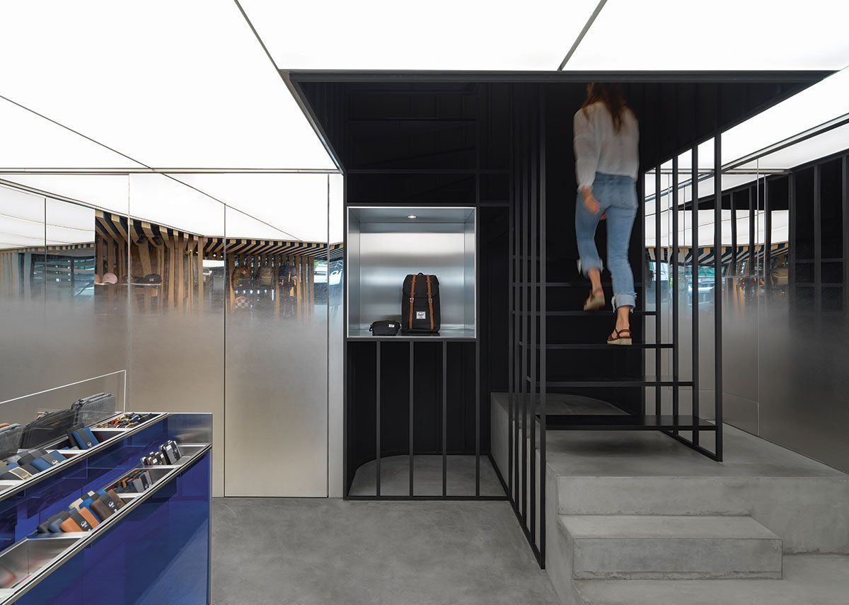 One of Linehouse's retail store designs for Herschel Supply, this one the Tokyo branch in Shibuya.