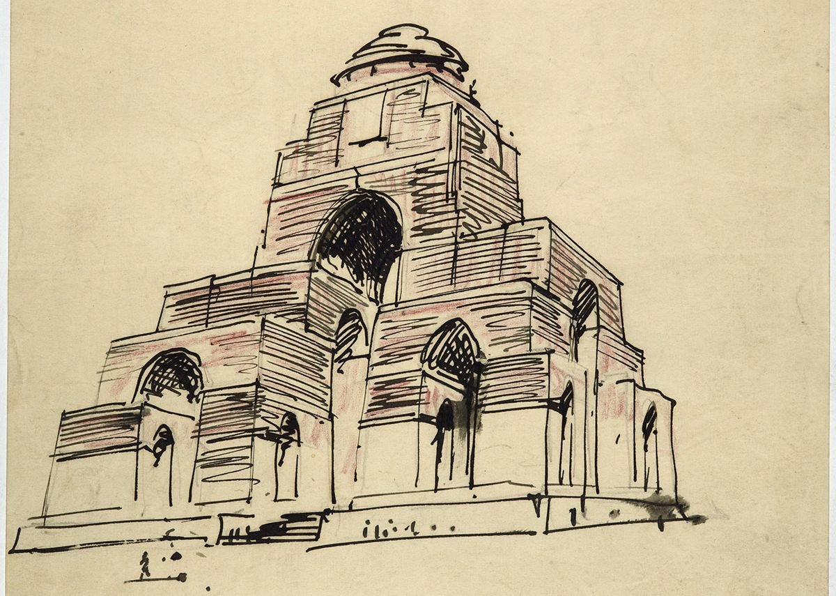 Edwin Lutyens, 1918, A record sketch of the unexecuted design for the Memorial to the Missing at St Quentin, Nord.