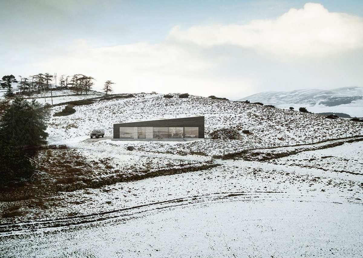 Spyon Cop, a £240k, 123m2 single storey holiday home under construction up a track in the Cairngorms.