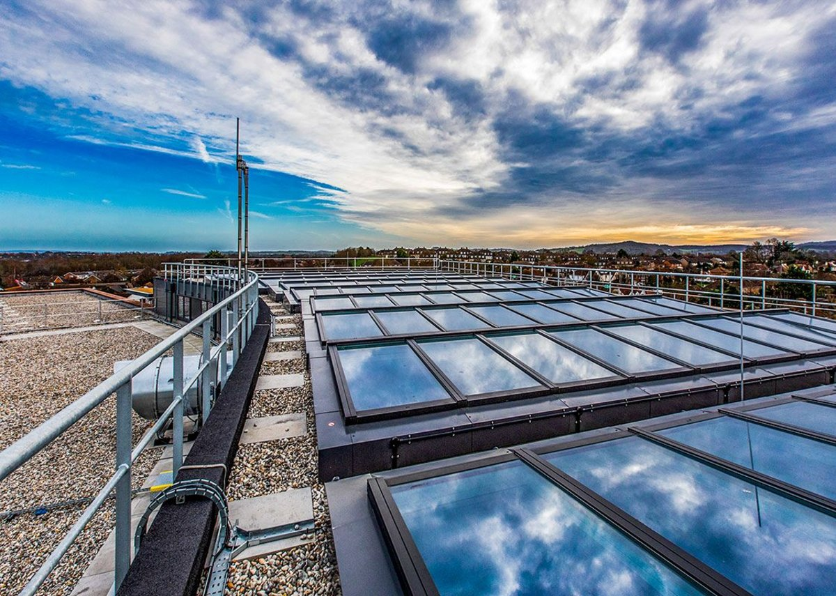VELUX modular skylights on the roof of UKHO, one of the world's leading geospatial information offices that provides data to mariners and maritime organisations.
