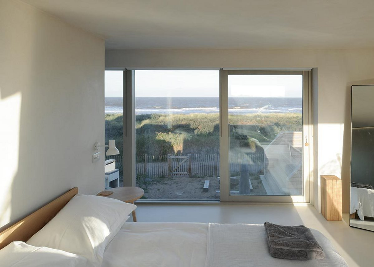 Looking out from the master bedroom over the dunes to the sea. The en-suite is around the wall.