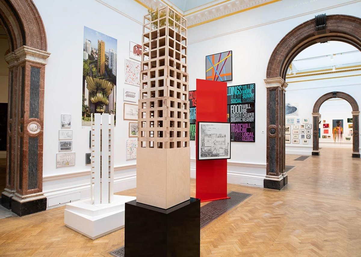 RA Summer Exhibition 2020, a model of Groupwork's 30 storey stone tower research project is the foreground.