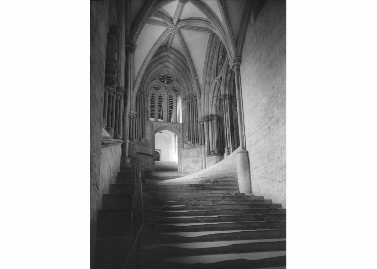 The staircase becomes a hillside, steps leading to the chapter house, Wells Cathedral, Somerset (1968).