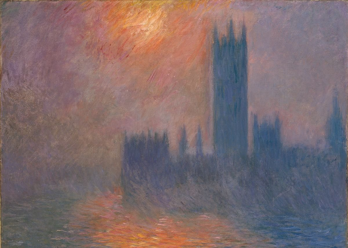 Claude Monet, Houses of Parliament, Sunset (Le Parlement, coucher de soleil), 1900-1. Kunsthaus Zürich Donation Walter Haefner, 1995 (1995-3).
