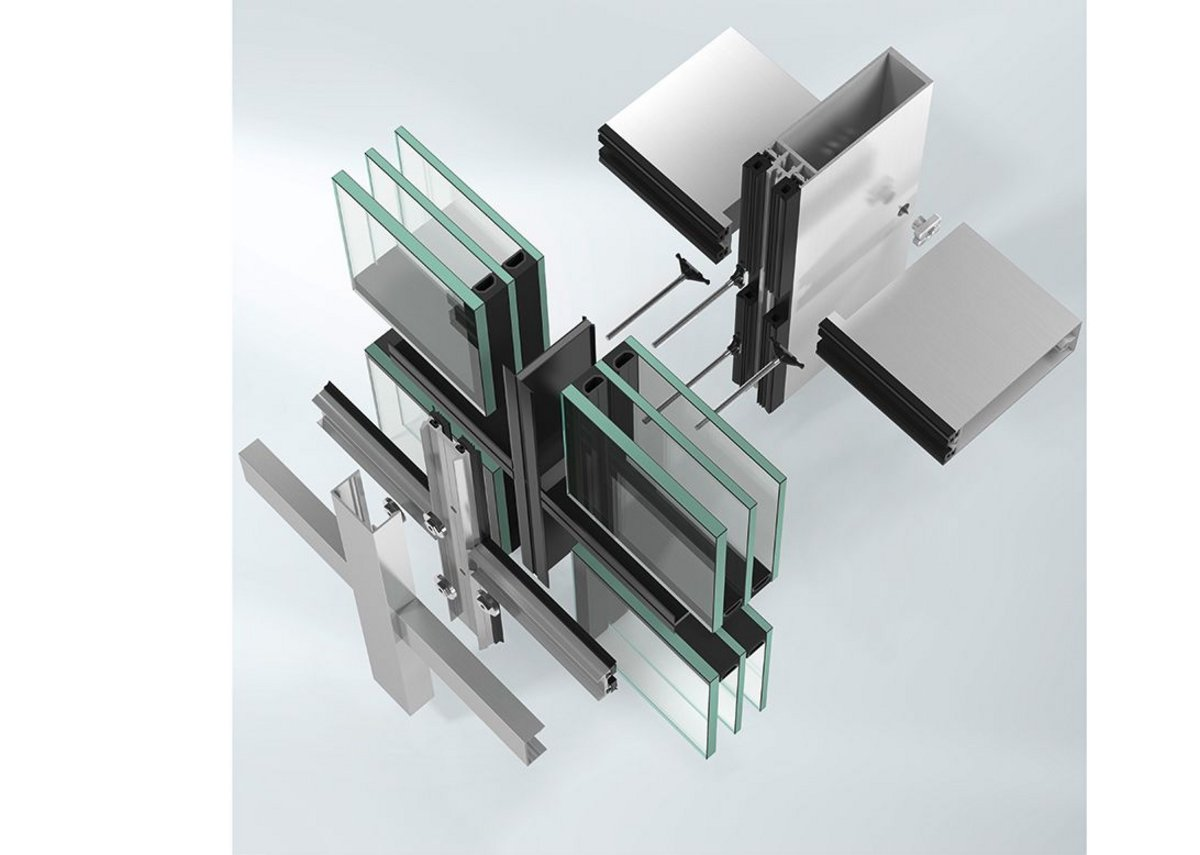 Schueco's FWS 35 PD facade can accommodate double- and triple-glazed units from 22 to 50mm thickness.