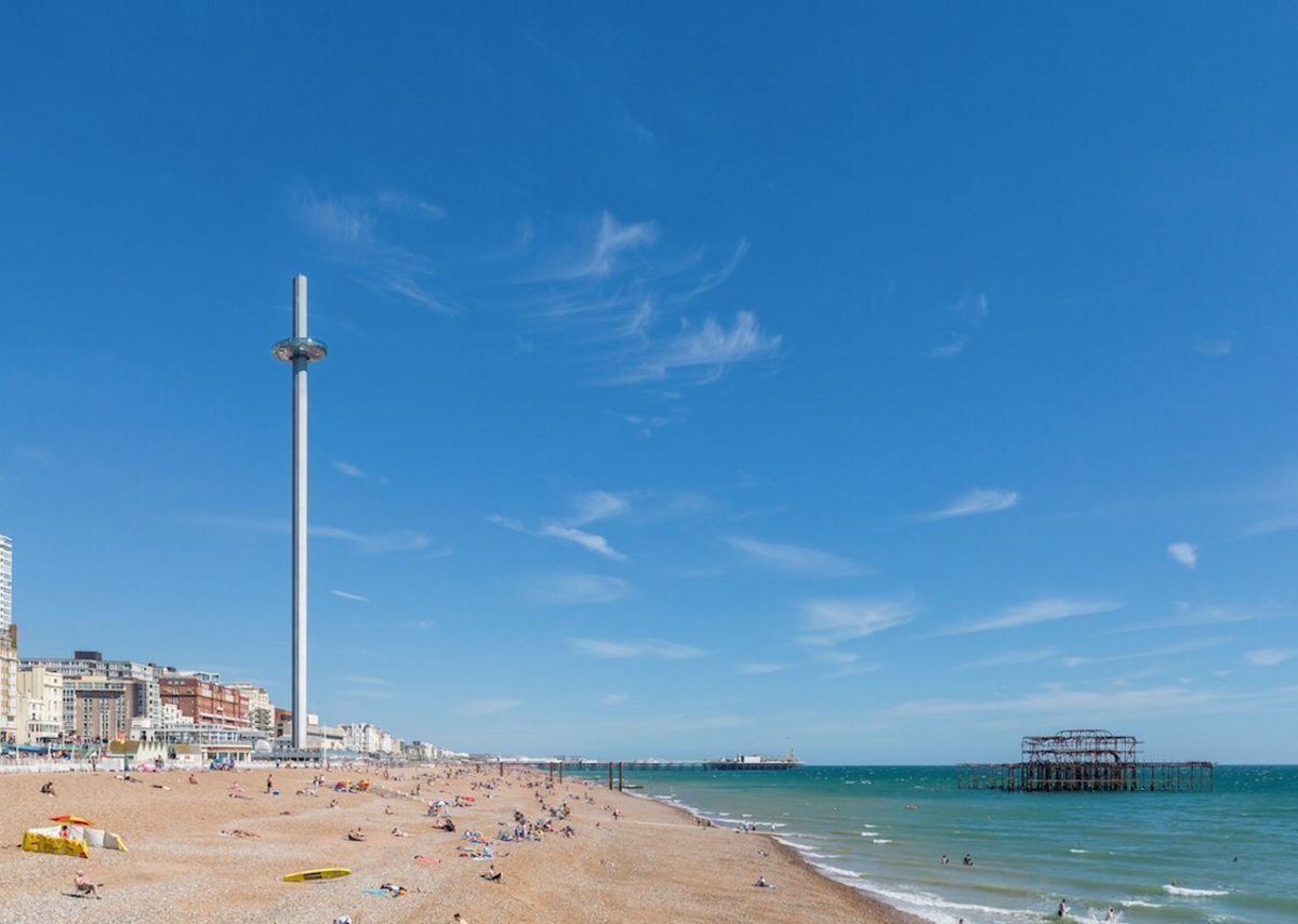 The i360 designed by Marks Barfield on the promenade in Brighton.