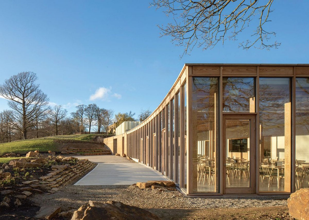 Finely crafted glazed spaces on the western side. Feilden Fowles, RIBA regional award and sustainability award and regional client of the year award 2019. Credit Peter Cook
