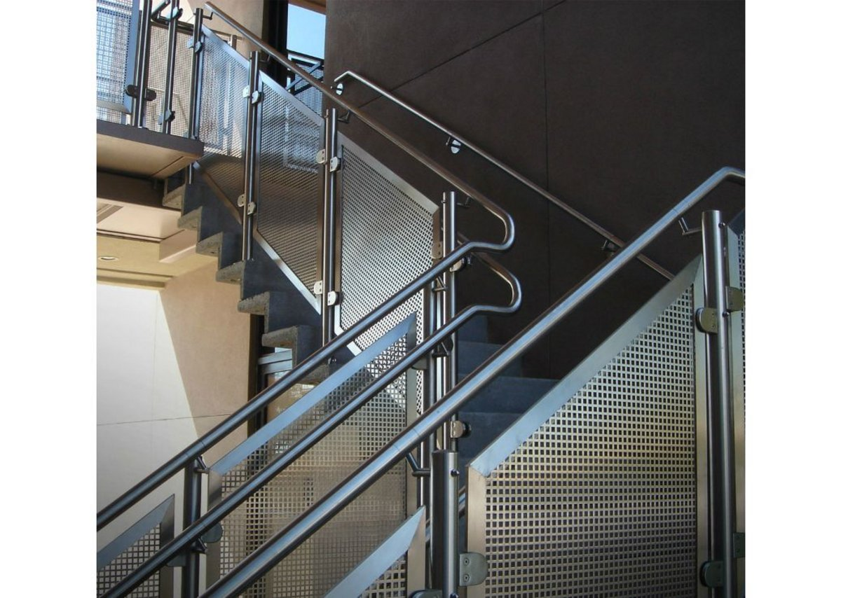 HDI Circum railings with perforated stainless steel infills.