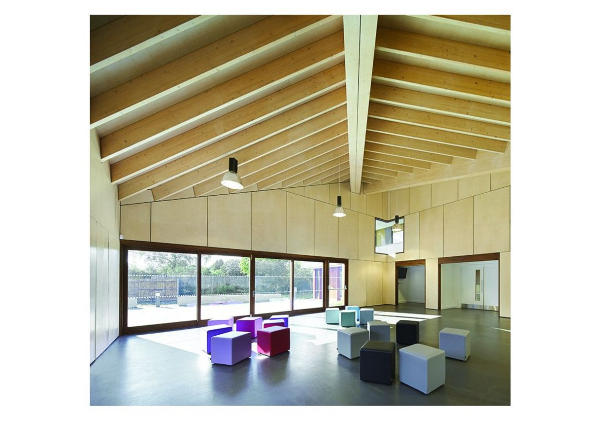 Laminated timber construction the building structure was made in sub-assemblies locally