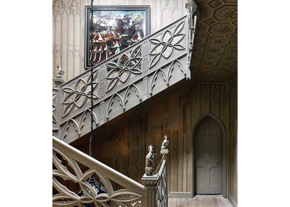 Wallpaper on the stairwell is based on a tomb in Worcester Cathedral.