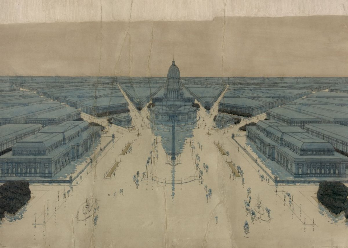 Jules Guerin's paintings of Burnham and Bennett's Plan for Chicago, 1909.