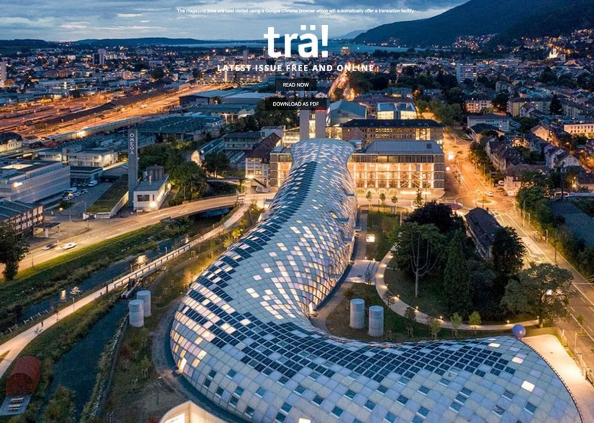 Free to read or download on the Wood Campus website: Trä! online magazine, here featuring Shigeru Ban's snaking timber gridshell for Swatch HQ in Biel, Switzerland.