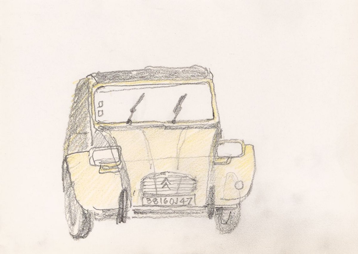 2CV 3816 OJ47 by Trevor Dannatt. Pencil, 14 x 21cm.