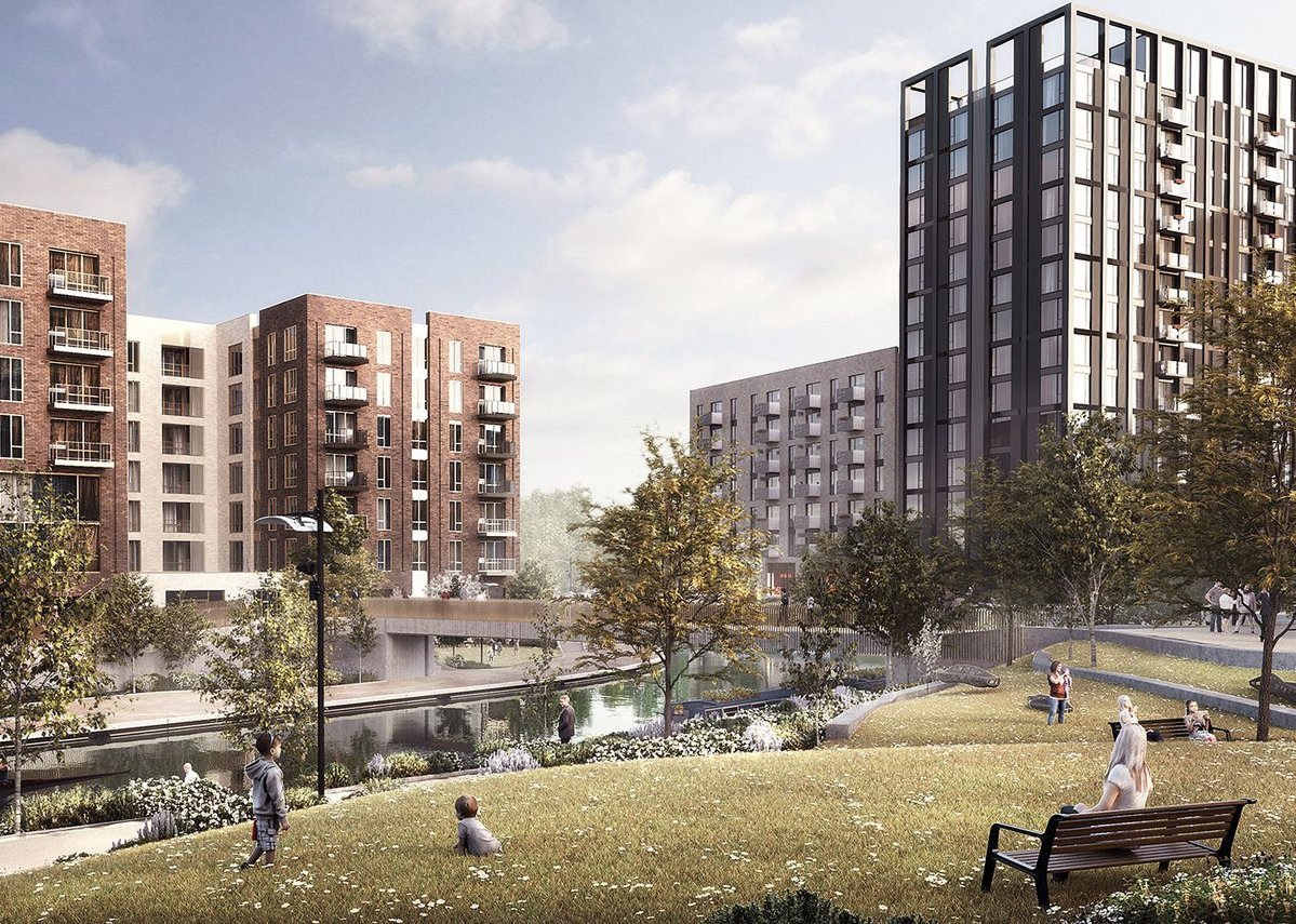 Greenford Green in Ealing is one of the UK's largest build-to-rent developments. The 1965-unit project is being developed by Greystar Real Estate Partners and is designed by HTA Design with Hawkins\Brown, SLCE, Flanagan Lawrence and Mæ.