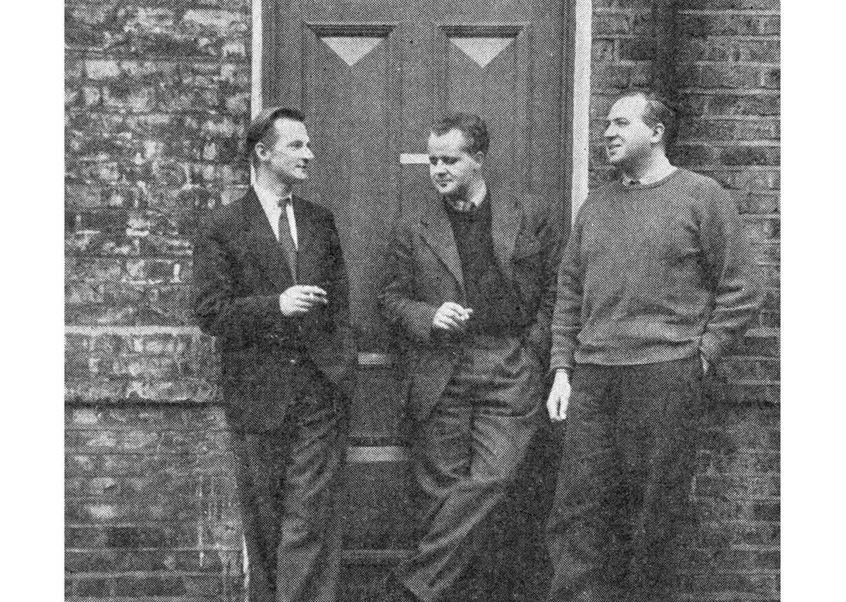 Chamberlin, Powell and Bon outside their Fulham studio, 1953.
