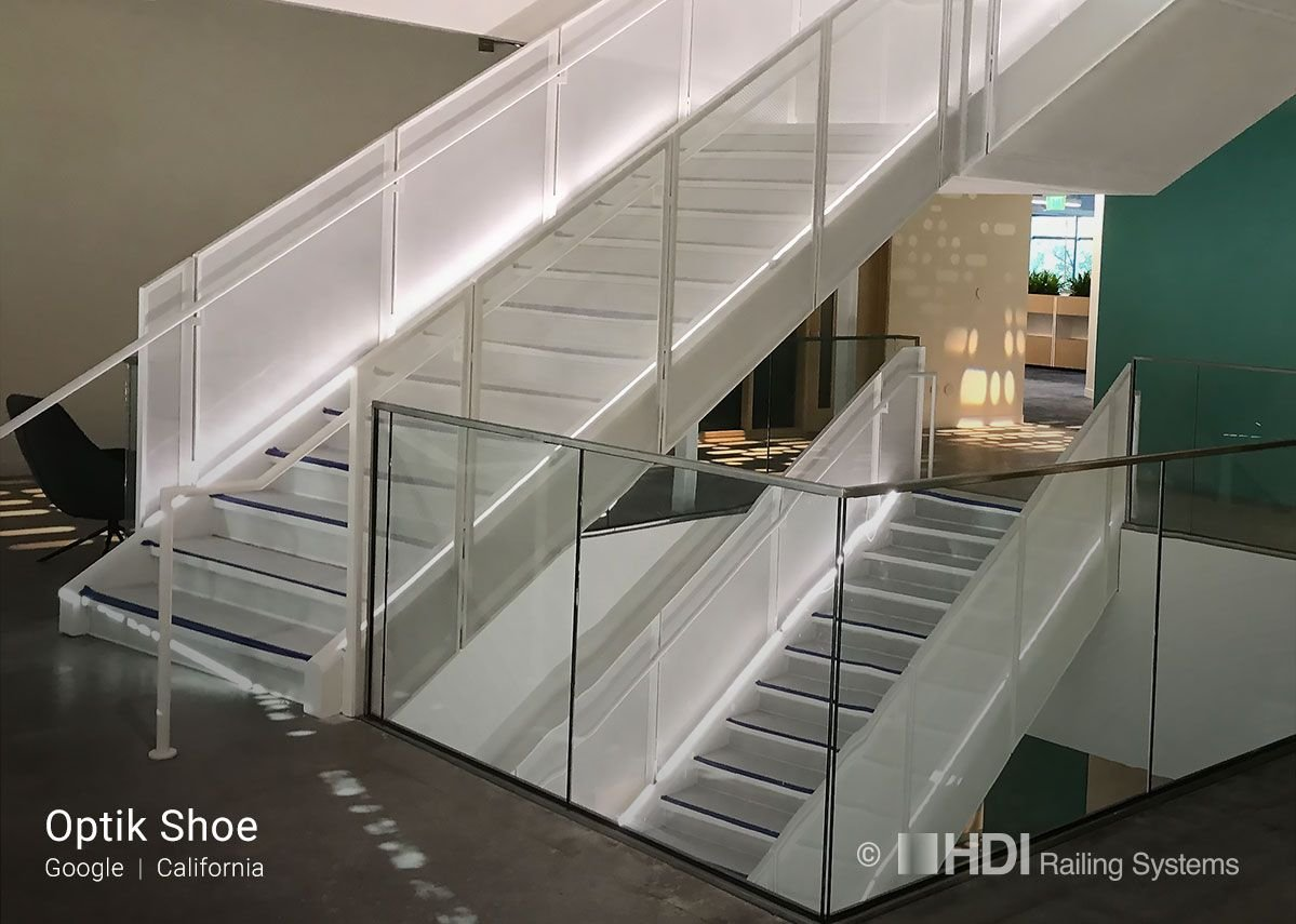 HDI Railing Systems' Optik Shoe floating glass balustrades at Google, California.