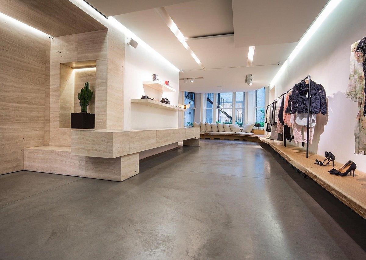 Polished Concrete flooring in Imperial Grey at Isabel Marant, Mayfair.