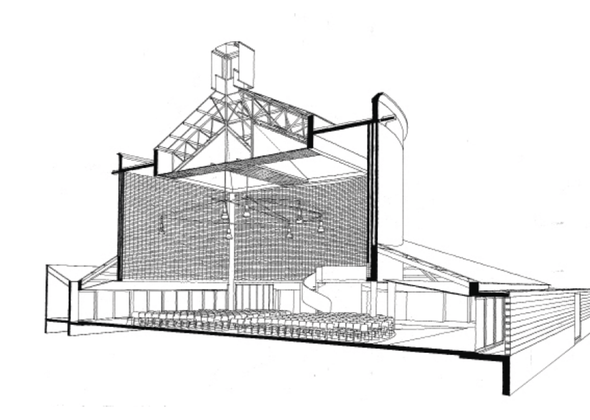 Perspective section of church.