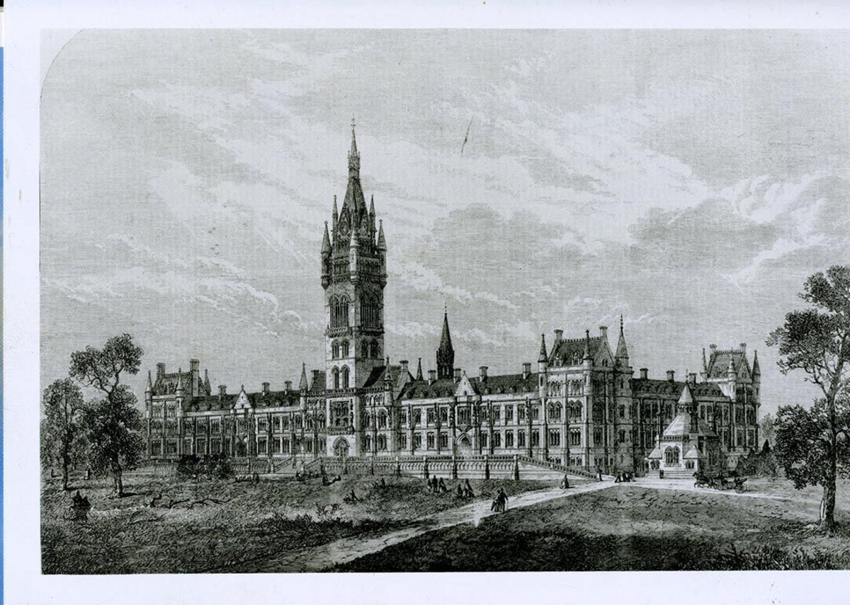 Scott designed numerous education buildings including the University of Bombay and Glasgow University – this illustration from 1866.