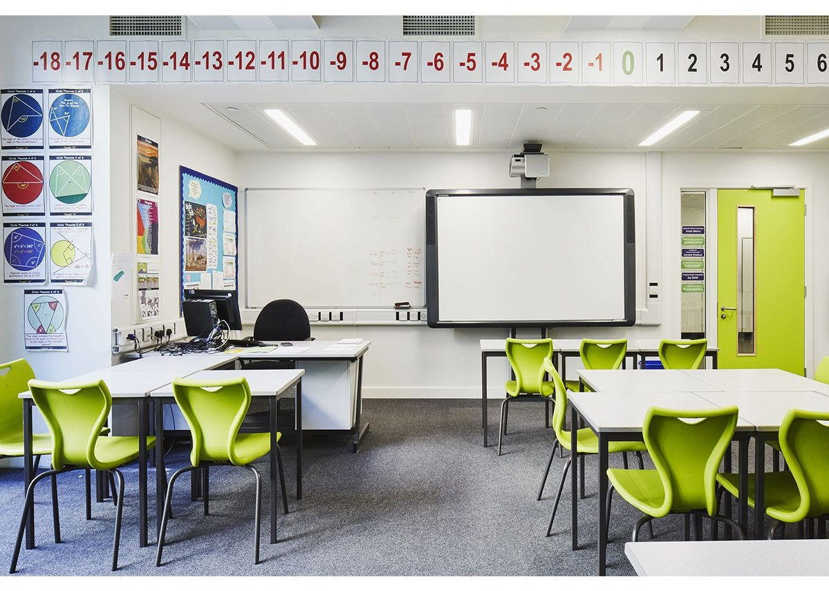 Classroom at the Isaac Newton Academy with space for displays of pupil work