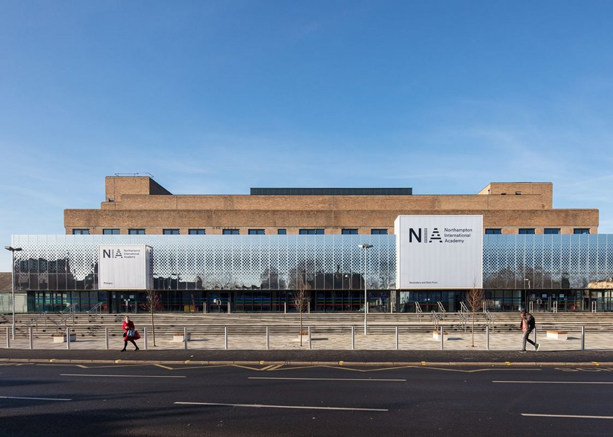 Shiny and new: the façade of the new Northampton Academy.