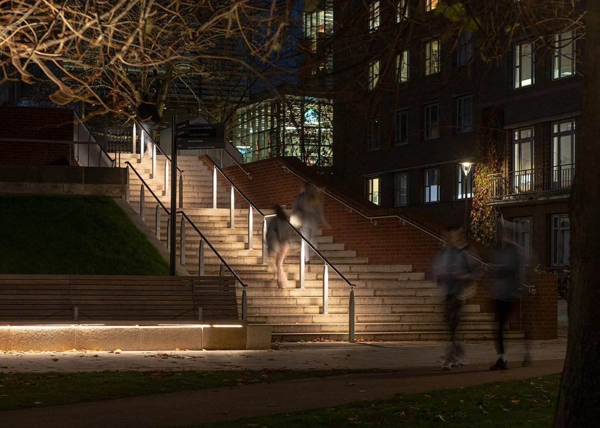 Aware that the campus is in use in depth of winter as well as height of summer lighting is part of the wayfinding strategy.