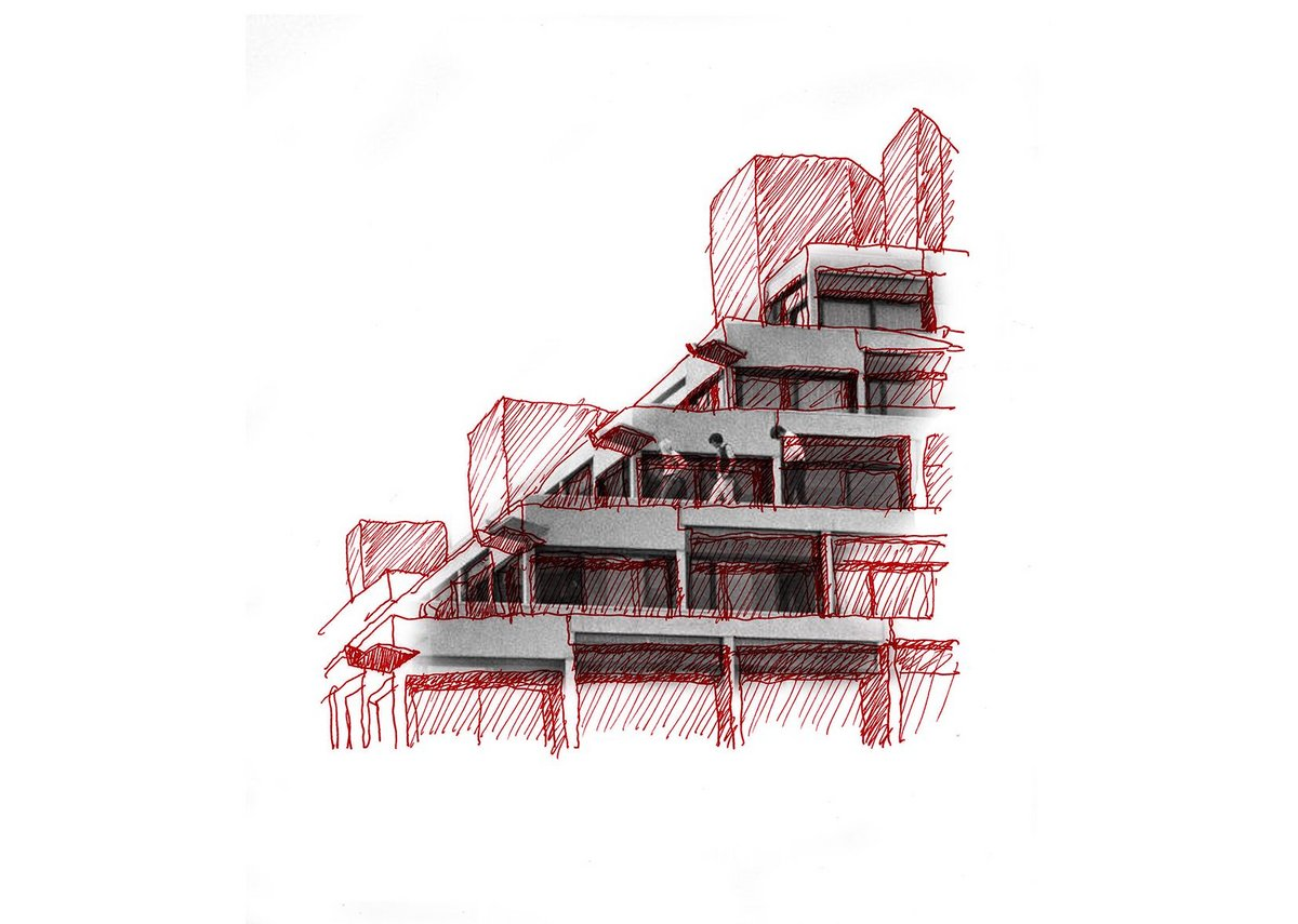 Drawing of Ziggurats, UEA by Jamie Fobert.