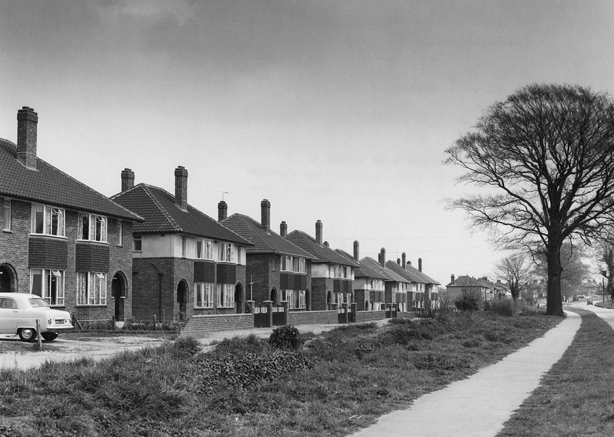Suburban semi-detached housing on the Dereham Road, Norwich, 1956.