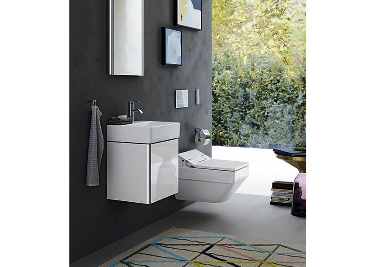 XSquare range from Duravit is ideal to complete an edgier look with the Stonetto shower tray.