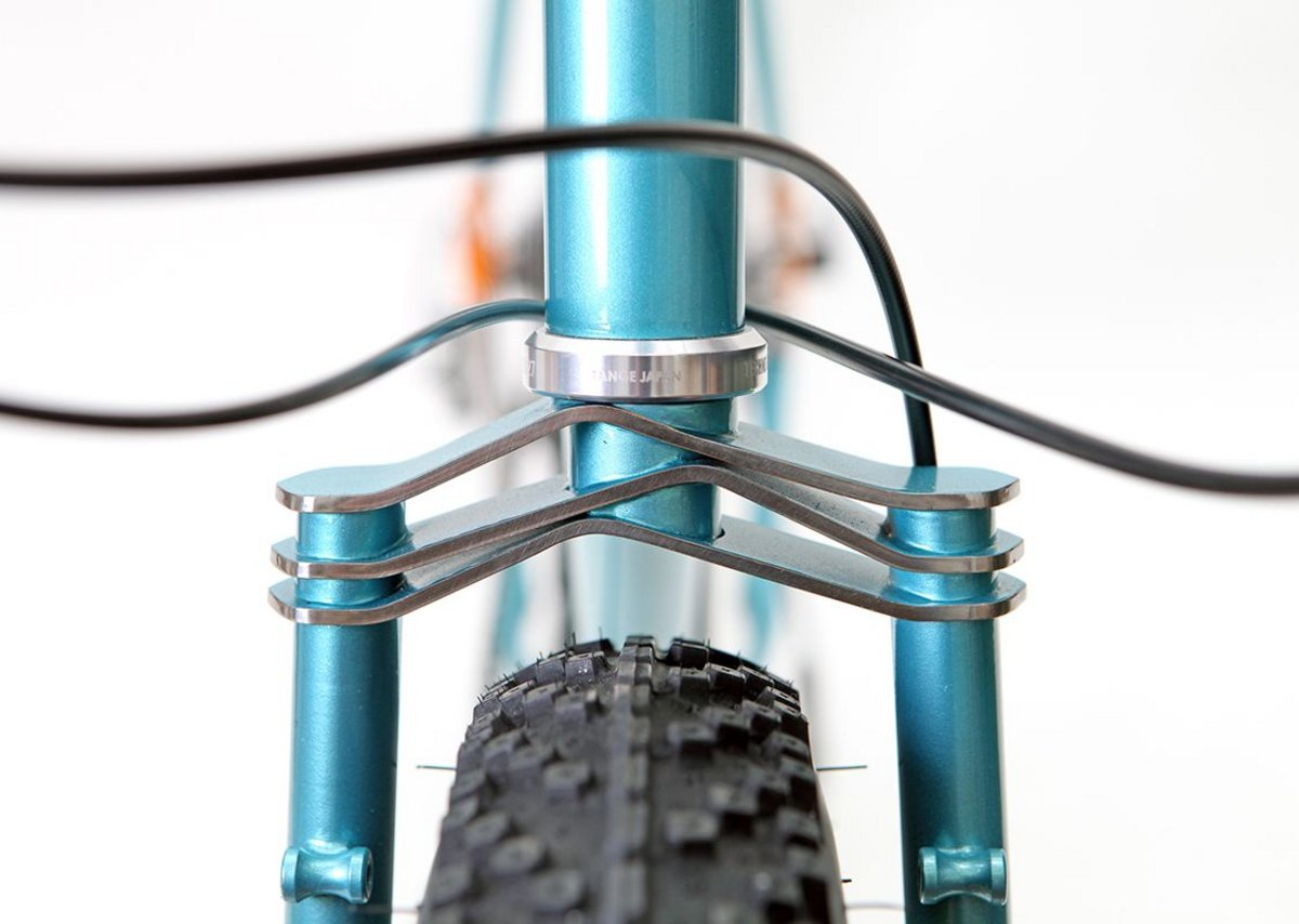 Fork crown detail of Porkeur designed by Hartley Cycles to float precious cargo.