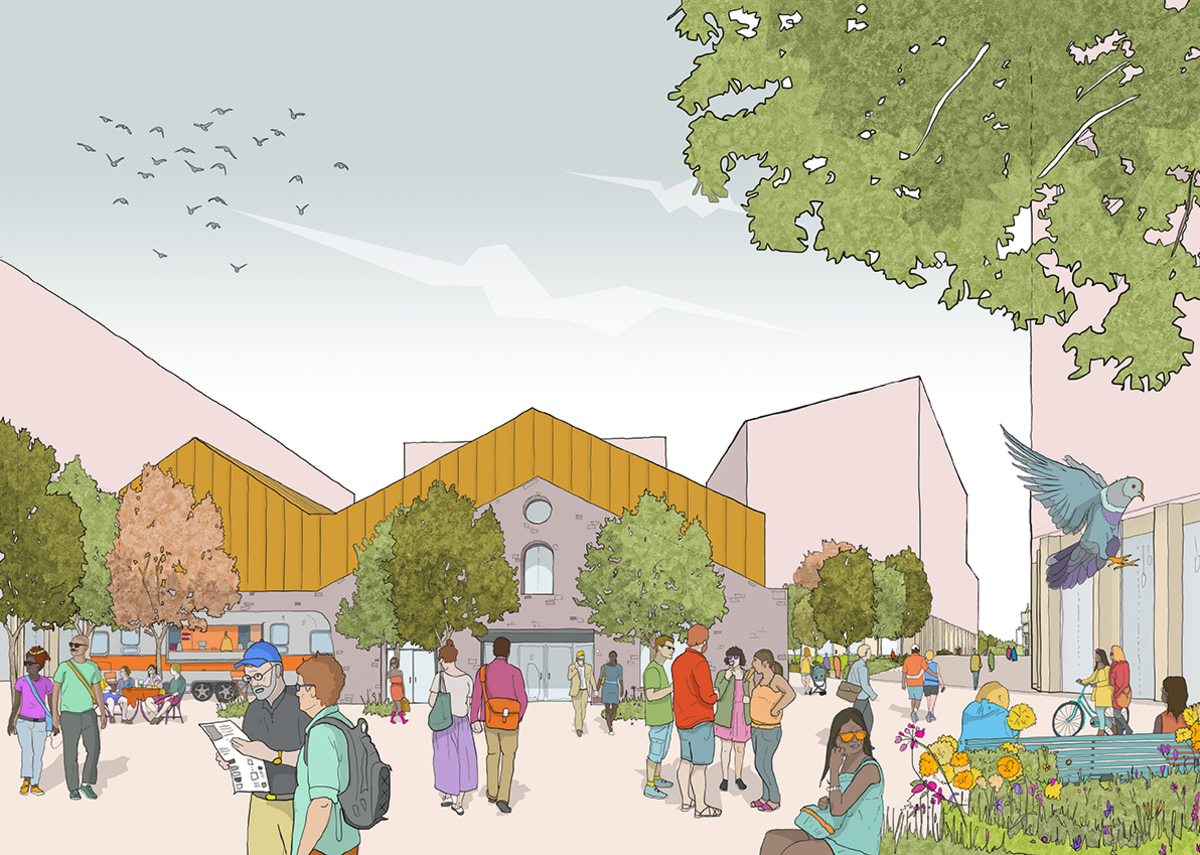 AHMM's masterplan with new public square on to Avon Street and reuse of the coal sheds.