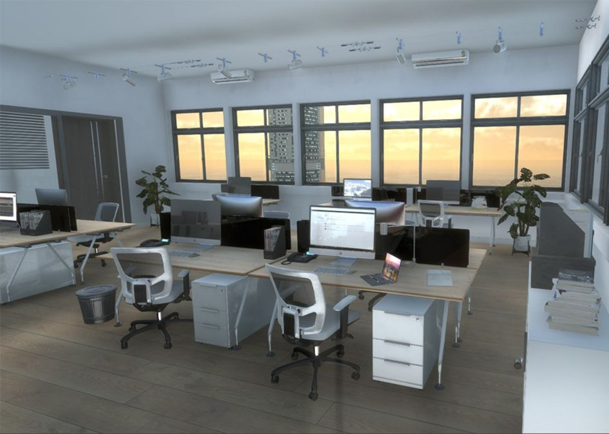 Office Replica Scene for Bath VSimulators: Understanding what kind of movement is acceptable and the level at which negative responses occur could inform designs for the next generation of tall buildings.