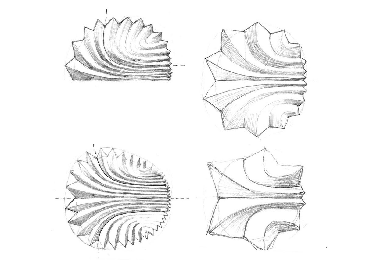 Concept sketches, pencil on paper, for Fountain sculpture by Beep Studio.