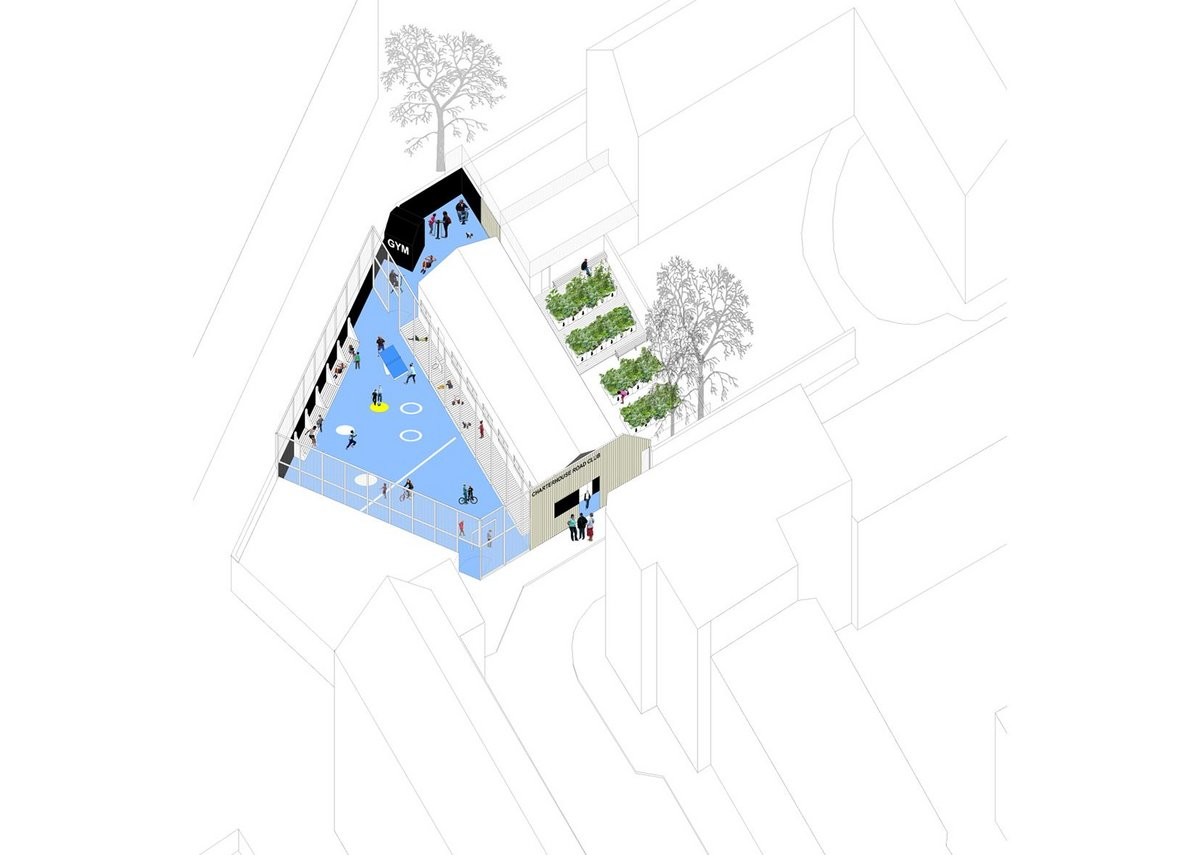 Axonometric drawing of the building and site