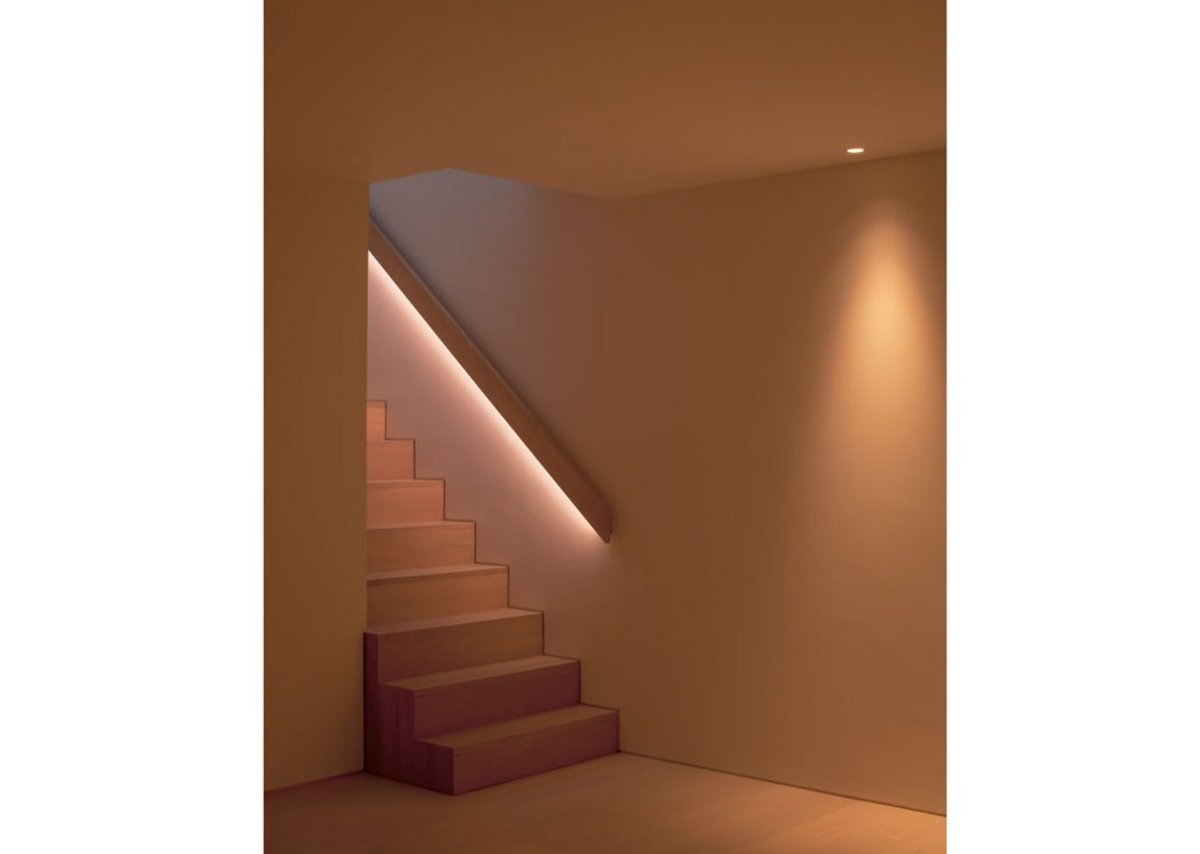 Stairs to the basement with its media room, study, storage and plant rooms.