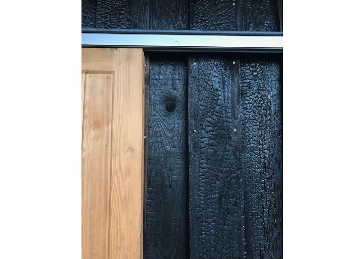 Detail of sliding doors on workshops. MacEwen Award 2019 commended Bridgend Inspiring Growth, Edinburgh by Halliday Fraser Munro Architects for Bridgend Inspiring Growth