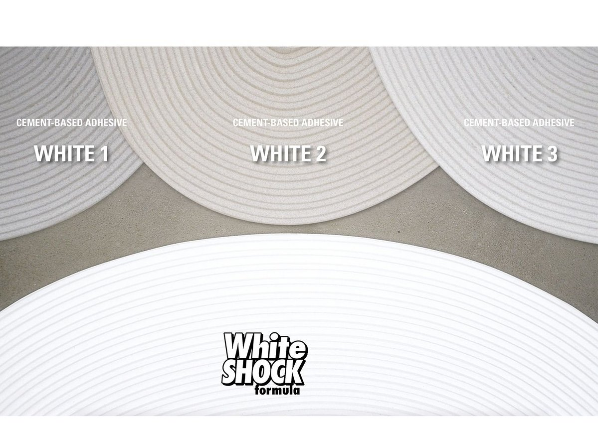 White Shock formula is whiter than cement-based adhesives.