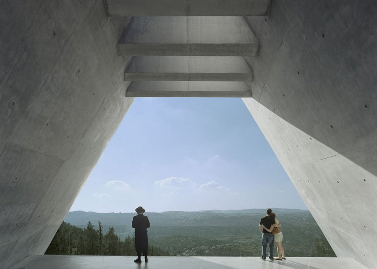Emerging from the prism at Yad Vashem Museum.