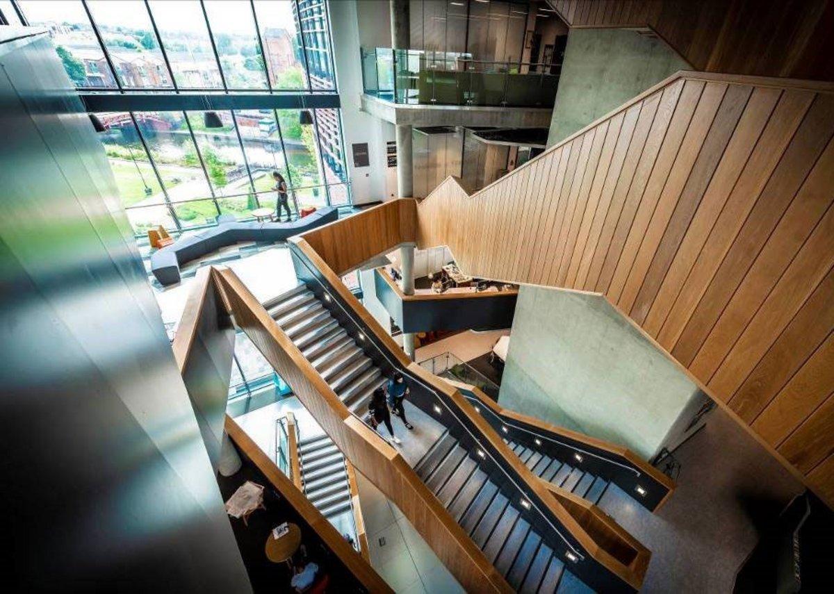 The impressive stairway in DMU's Vijay Patel Building.